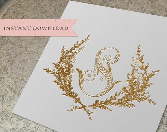 Wedding Crest Vintage Initial S Garden Crest S Monogram Digital Download