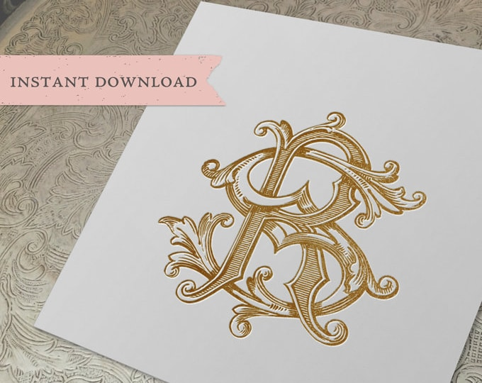 Vintage Wedding Monogram SR RS Digital Download S R