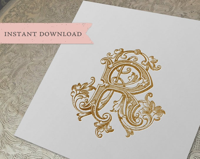 Vintage Wedding Duogram Monogram RR Double R Digital Download