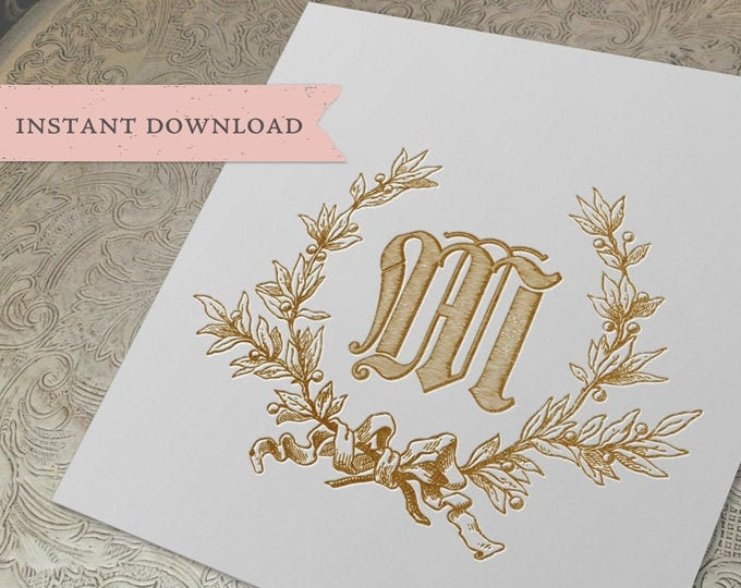 Vintage Wedding Initial M Laurel Wreath Crest Digital Download
