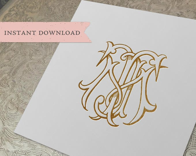 3 Initial Vintage Monogram MTJ  Three Letter Wedding Monogram Digital Download M T J