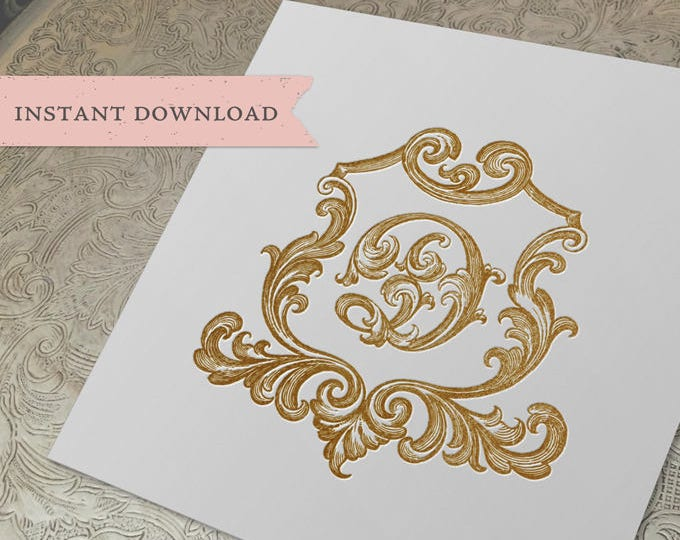 Vintage Wedding Crest Initial D Digital Download