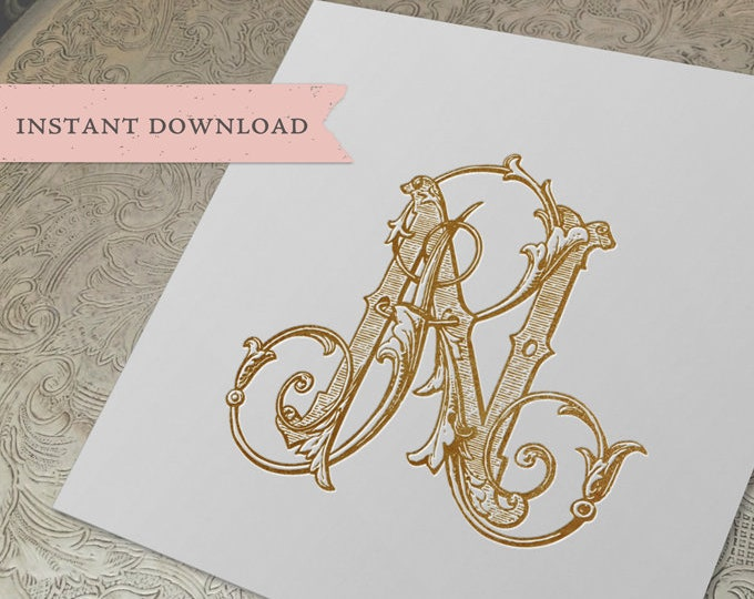 Vintage Wedding Monogram RN NR Wedding Duogram Digital Download R N