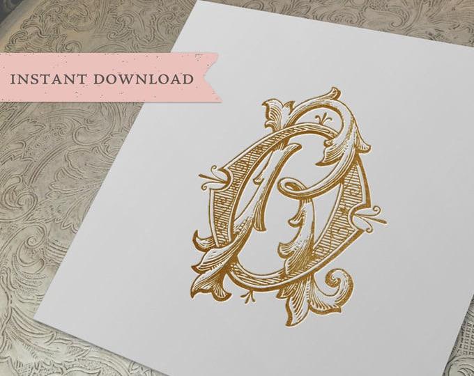 Vintage Wedding Monogram OR RO Digital Download R O