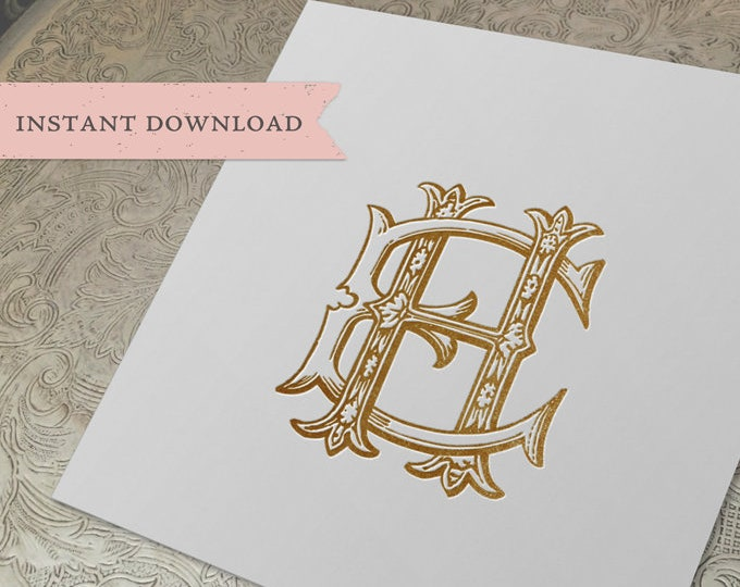 Vintage Wedding Monogram HE EH Digital Download H E