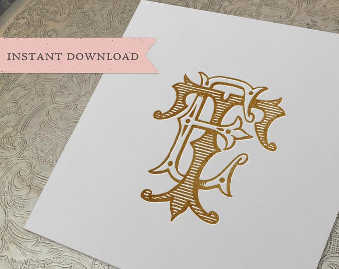 Vintage Wedding Monogram ET TE Digital Download T E