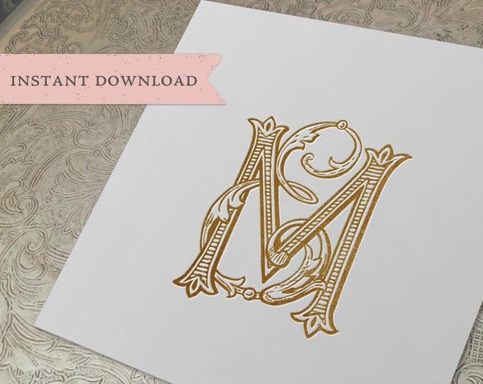 Vintage Wedding Monogram ME EM Digital Download E M