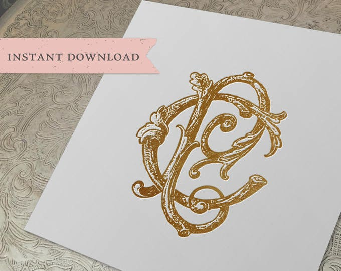 Vintage Wedding Monogram CP PC Wedding Duogram Digital Download C P