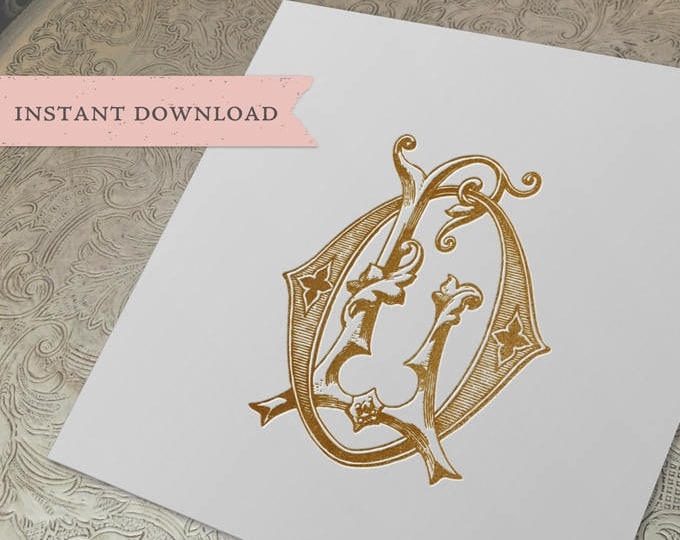 Vintage Wedding Monogram LO OL Digital Download L O
