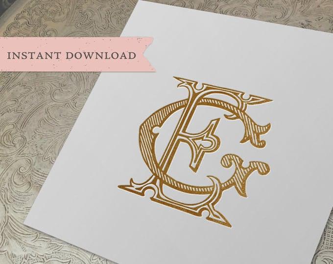 Vintage Wedding Monogram EG GE Digital Download E G