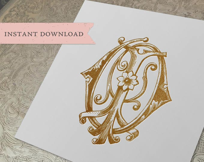 Vintage Wedding Monogram IO OI Digital Download I O