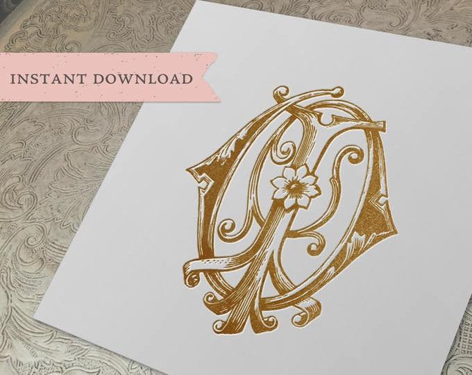 Vintage Wedding Monogram IO OI Digital Download I O