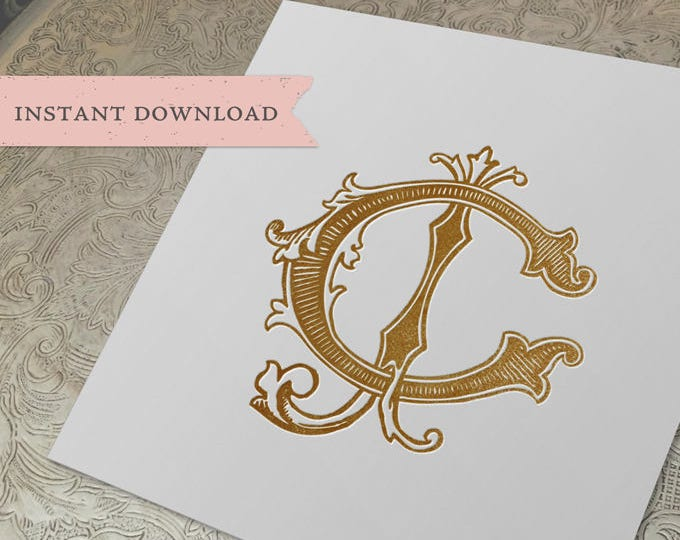 Vintage Wedding Monogram CJ JC Digital Download C J