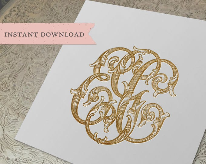 3 Initial Vintage Monogram EGC Three Letter Wedding Monogram Digital Download E G C