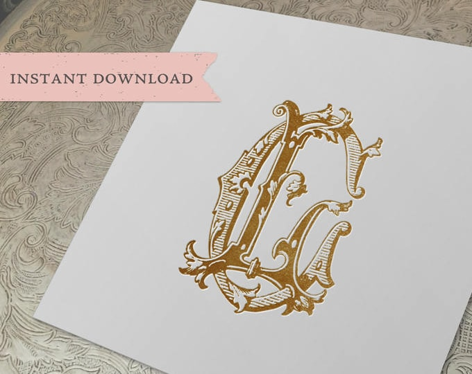 Vintage Monogram CL LC Wedding Duogram Digital Download C L