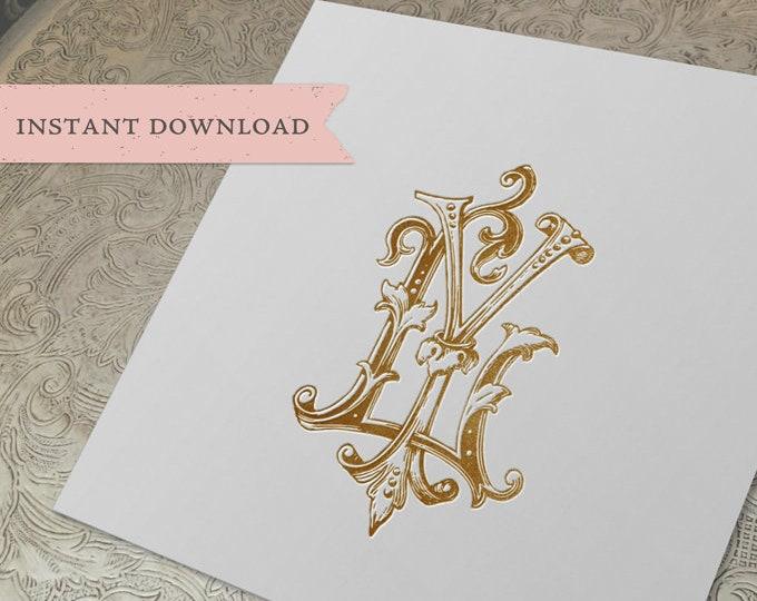 Vintage Wedding Monogram YL LY Digital Download Y L