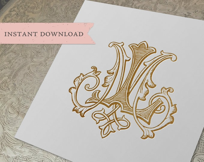 Vintage Wedding Monogram LM ML Digital Download  L M