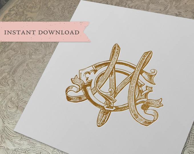 Vintage Wedding Monogram MG GM Digital Download M G