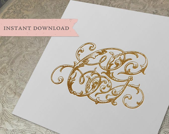 Vintage Wedding Monogram CG Digital Download C G