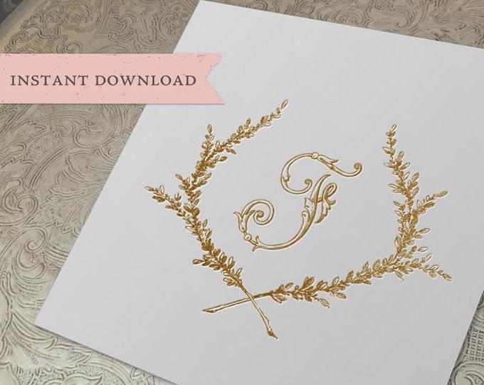 Vintage Wedding Initial Crest F Garden Wreath Digital Download