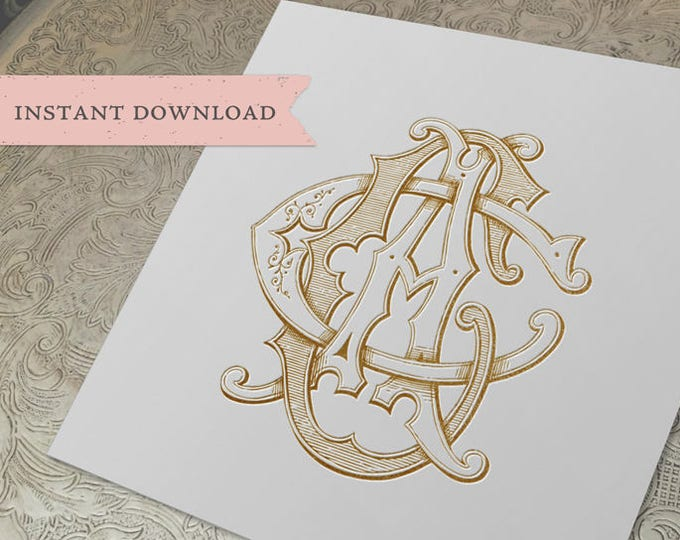 3 Initial Vintage Monogram ACC  Three Letter Wedding Monogram Digital Download CCA  CAC