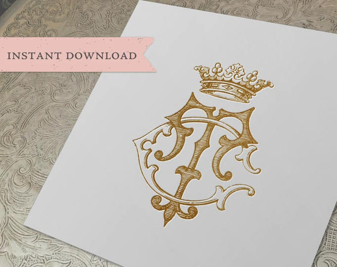 Vintage CROWN Monogram TC CT Digital Download C T