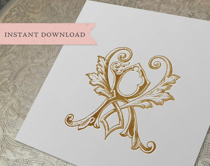 Vintage Wedding Monogram RV VR Digital Download R V
