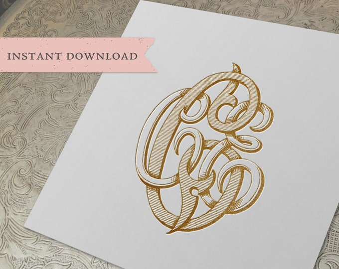 3 Initial Vintage Monogram CCE Three Letter Wedding Monogram Digital Download C C E