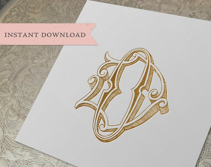Vintage Wedding Monogram DO OD Digital Download D O