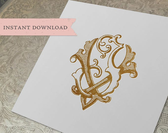 Vintage Wedding Monogram VJ JV Digital Download V J