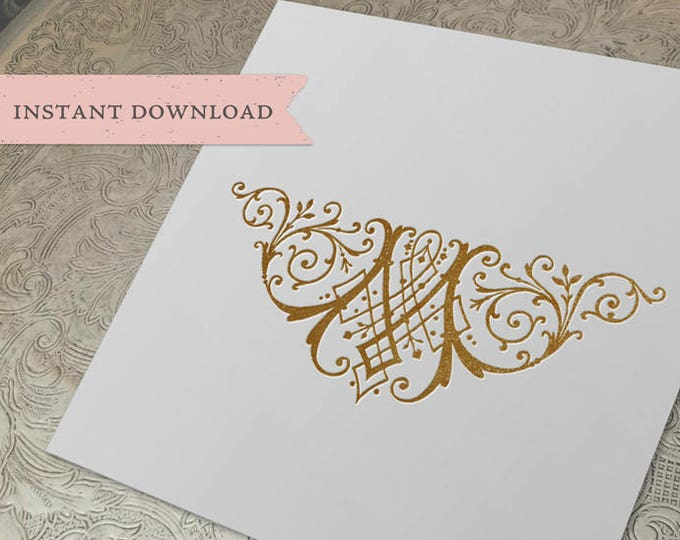 Vintage Wedding Crest Initial M Digital Download