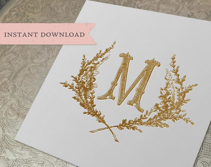 Vintage Wedding Initial Crest M Garden Wreath Digital Download
