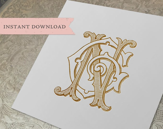 Vintage Wedding Monogram NG GN Digital Download G N