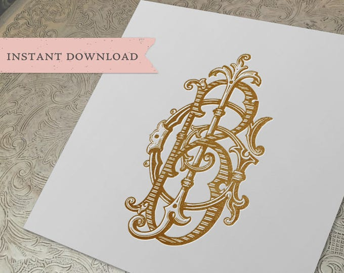 3 Initial Vintage Monogram BGJ JGB BJG Three Letter Wedding Monogram Digital Download B G J