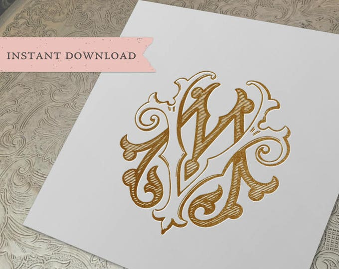 Vintage Wedding Monogram MV VM Digital Download M V