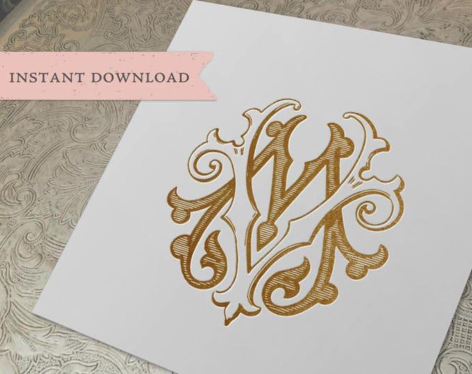 Vintage Wedding Monogram MV VM Digital Download M V