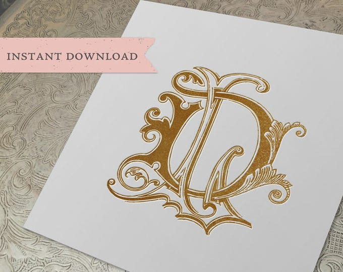 Vintage Wedding Monogram DL LD Digital Download D L