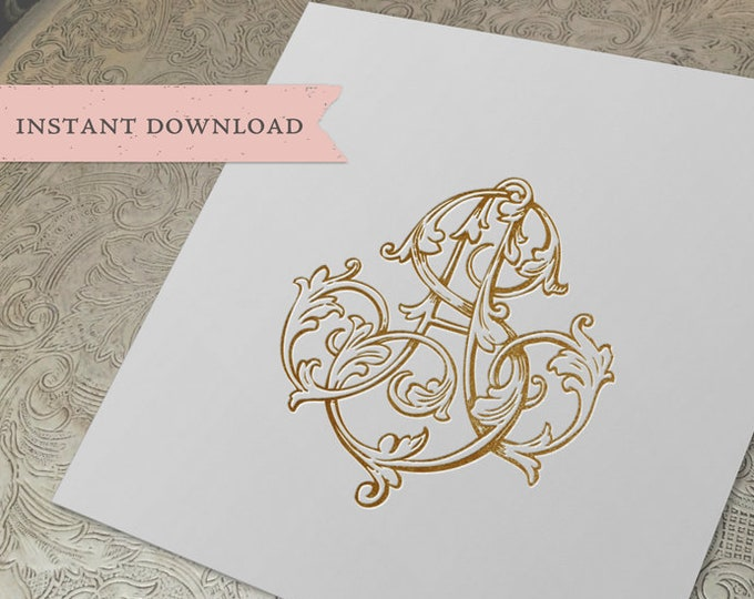 Vintage Wedding Monogram AS SA Digital Download  A S