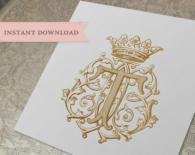 Vintage Crown Monogram B T TBB BTB Three Letter Monogram Digital Download  BB T