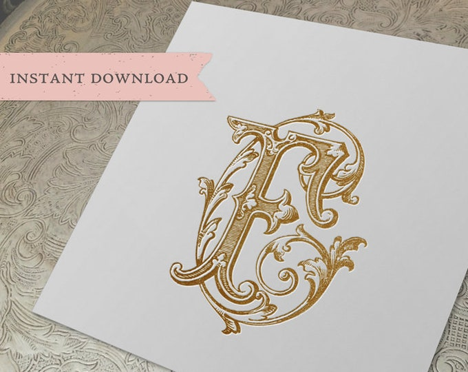 Vintage Duogram Monogram CF FC Digital Download C F