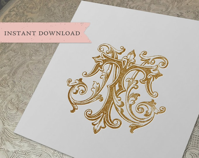 Vintage Wedding Monogram NT TN Digital Download N T