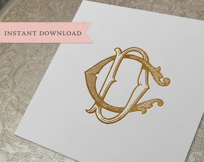 Vintage Wedding Monogram CD DC Digital Download C D