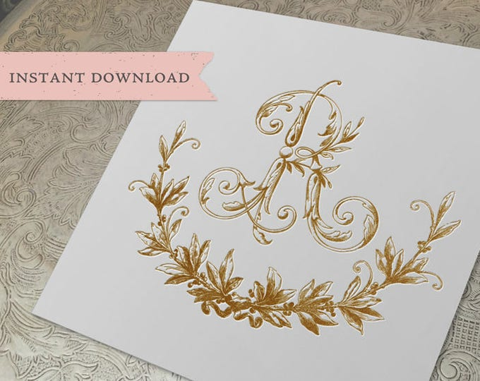 Vintage Wedding R Initial Wreath Crest Digital Download