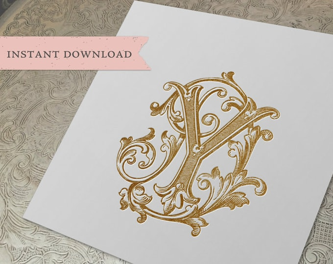 Vintage Wedding Monogram DY YD Duogram Digital Download D Y