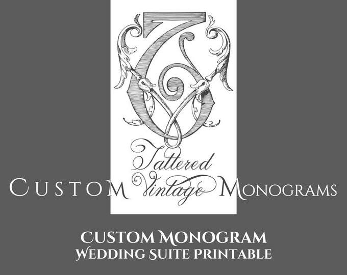 Custom Vintage Monogram Wedding Invitation Suite Design