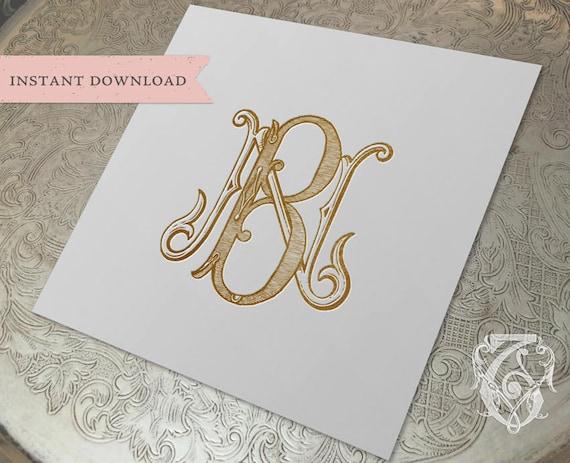 Vintage Wedding Monogram Nb Bn Digital Download B N Etsy