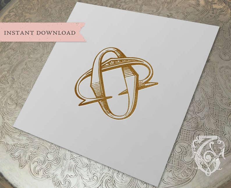 Vintage Wedding Monogram Co Oc Wedding Duogram Digital Etsy