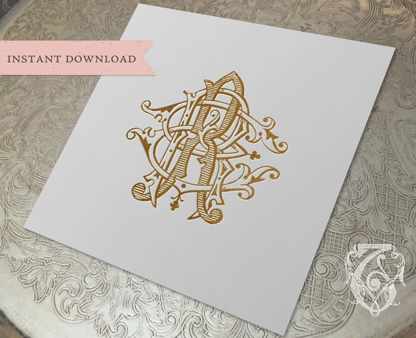 3 initial vintage monogram err three letter wedding monogram digital download r e rr
