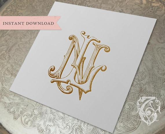 Vintage Wedding Monogram Nl Ln Digital Download N L Etsy