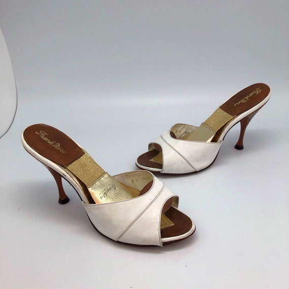 1950s 1960s SZ:7N white brown leather open toe spr